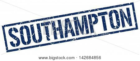 Southampton stamp. blue grunge square isolated sign