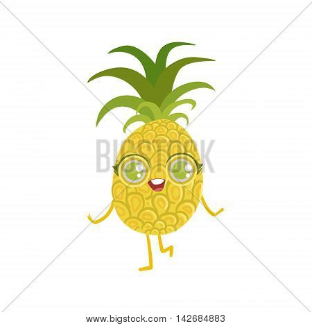 Pineapple Girly Cartoon Character.Childish Design Sticker With Humanized Bright Color Fruit Character.