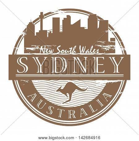 Grunge rubber stamp with the name of Sydney, Australia written inside the stamp, vector illustration