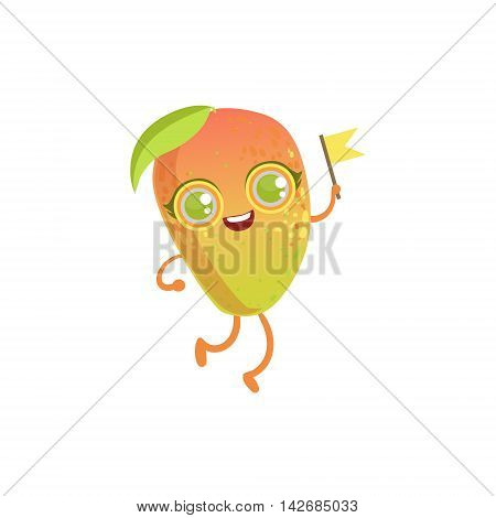 Mango Girly Cartoon Character.Childish Design Sticker With Humanized Bright Color Fruit Character.