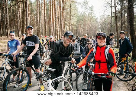 Gomel, Belarus - April 10, 2015: Group of young people cyclists at opening of the cycling season in the city