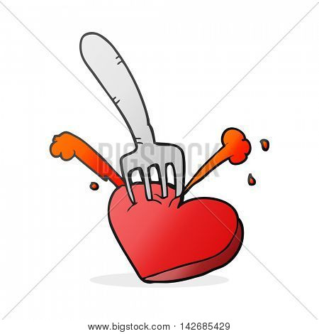 freehand drawn cartoon heart stabbed by fork