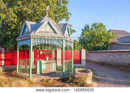 beautiful water well with gazebo, in moldavian village
