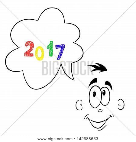 thinking about new 2017 year looking forward cartoon face number smiling clouds