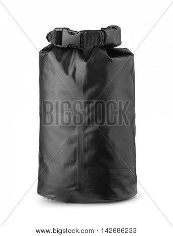Black plastic waterproof dry bag isolated on white