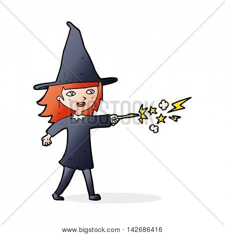 cartoon witch girl casting spell