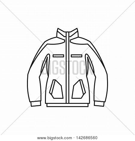 Men winter jacket icon in outline style isolated on white background. Clothing symbol vector illustration