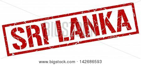 Sri Lanka stamp. red grunge square isolated sign
