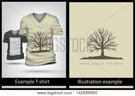 example illustration on a T-shirt. tree branches