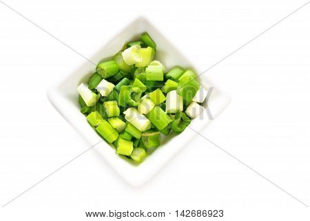 Flavorful Green Onion Sliced in a White Bowl