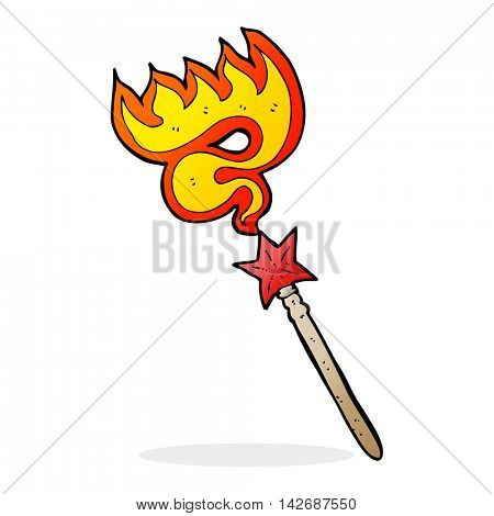 cartoon magic wand casting fire spell