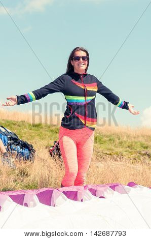 Cheerful Girl Waiting For Paragliding