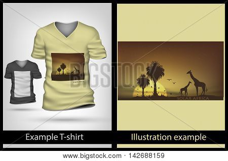 example illustration on T-shirt. sunny and savanna africa
