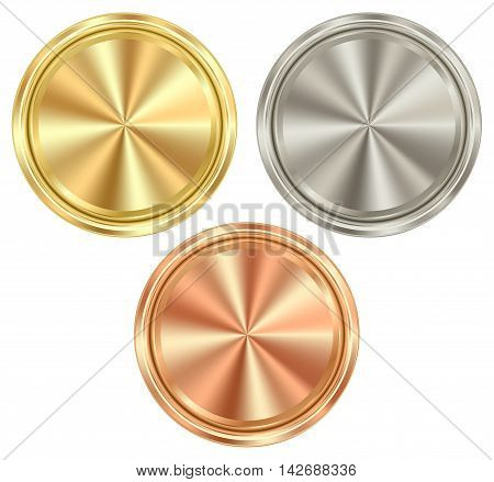vector set of blank round coins of gold silver bronze which can be used as medals coins stamps