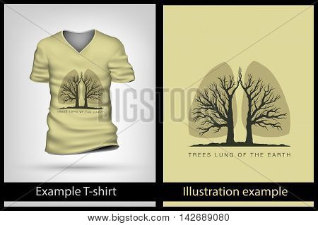 example illustration on a T-shirt. trees are the lungs earth
