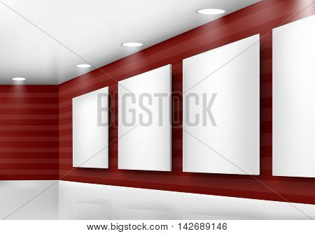 Gallery of empty frames on red wall with lighting