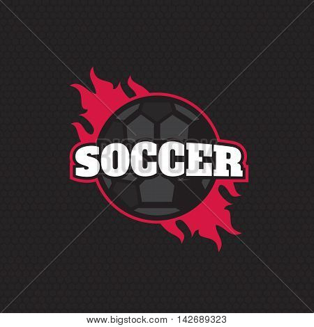 Vector soccer league logo with ball. Sport badge for tournament