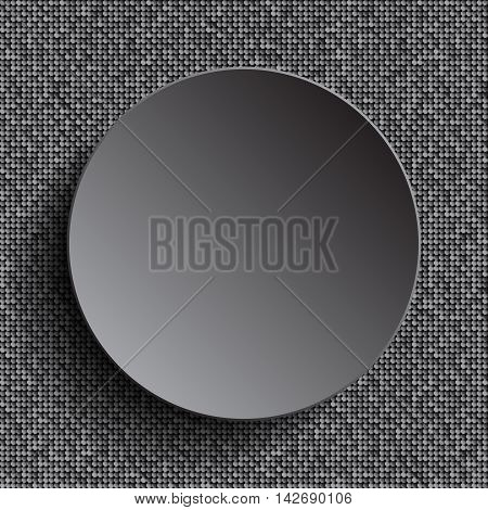 Vector silver circle button on shiny silver sequins background. Sparkle glitter background. Glittering sequins wall.