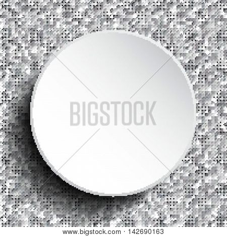 Vector white circle button on shiny silver sequins background. Sparkle glitter background. Glittering sequins wall.