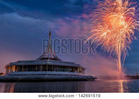 Firework celebration for H.M. The Queen's Birthday BangkokThailand