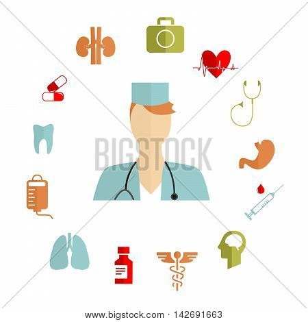 illustration in style of flat design on the theme of medicine and health.