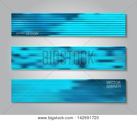 Set blurry striped backgrounds for creative design. Collection banners, posters, covers in blue tones