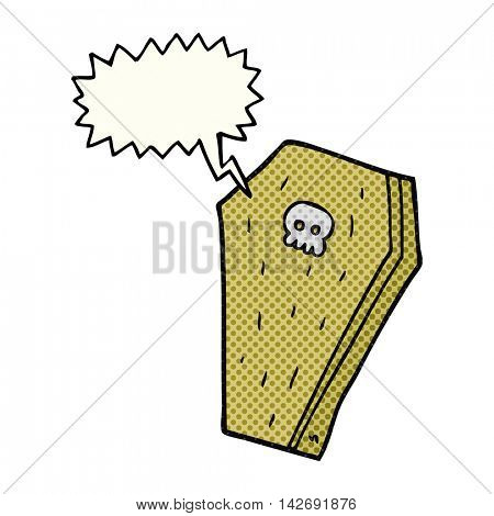 freehand drawn comic book speech bubble cartoon halloween coffin