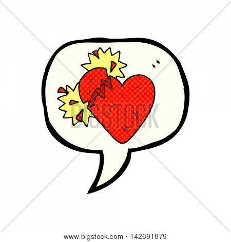 freehand drawn comic book speech bubble cartoon broken heart