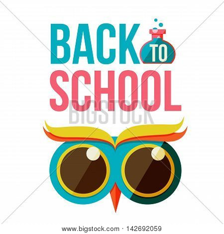 Back to school poster with owl head, flat style illustration isolated on white background. Start of school season concept, poster card design with owl as a symbol of educational process