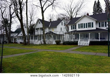 WEQUETONSING, MICHIGAN / UNITED STATES - DECEMBER 22, 2015: Elegant Victorian homes on Fifth Avenue in Wequetonsing, Michigan.