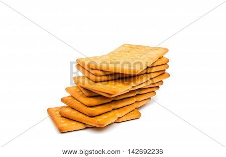 salty crackers snack on a white background