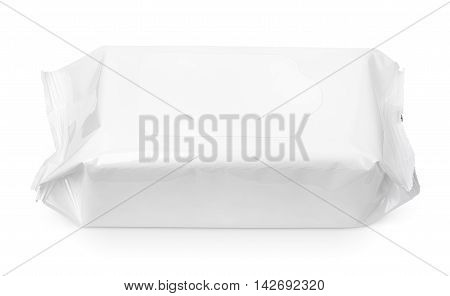 Wet wipes package with flap isolated on white background with clipping path