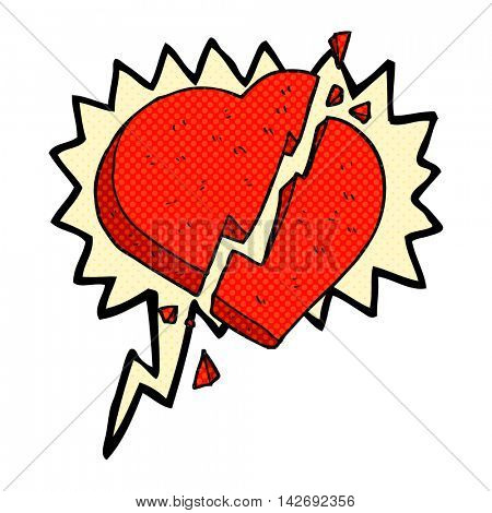 freehand drawn comic book speech bubble cartoon broken heart symbol