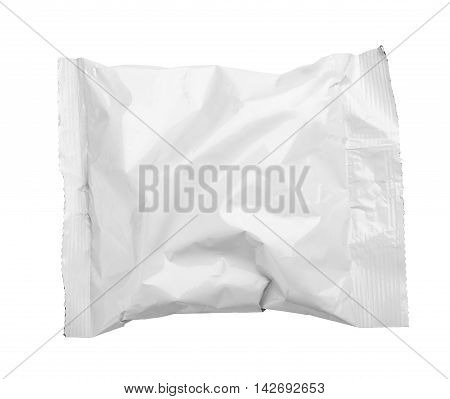 Top View Of Blank Crumpled Plastic Pouch Food Packaging Isolated On White
