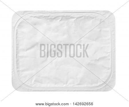 Top View Of Rectangular Aluminum Foil Cover Food Tray Isolated On White