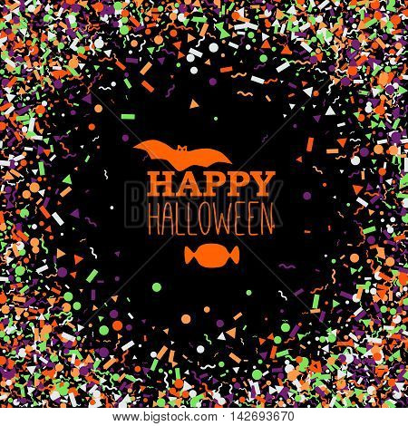 Happy Halloween background of bright randomly falling geometric forms with composition of but text candy in a center.