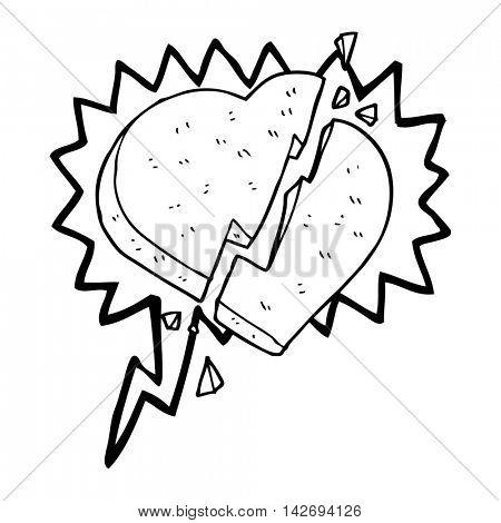 freehand drawn speech bubble cartoon broken heart symbol