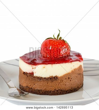 Small cake with chocolate and strawberry isolated