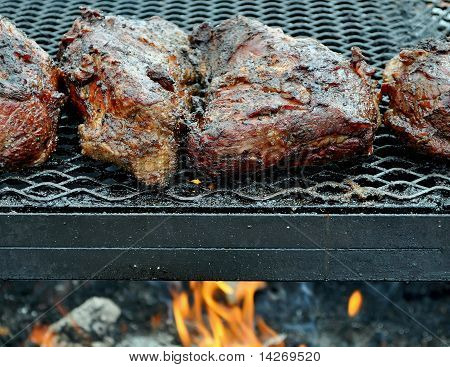 Barbecuing on an Open Grill