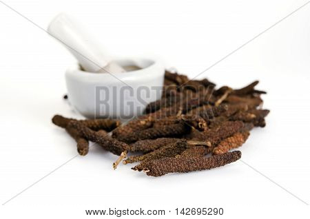 Long Pepper Or Pipli Or Dipli (piper Longum) Isolated On White Background.