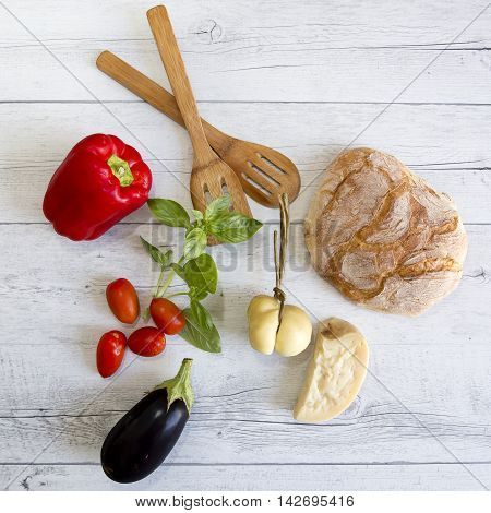Red Pepper, Basil, Cherry Tomatoes, Aubergine, Bread And Cheese