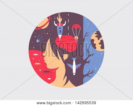 Ideas on flight flat concept. Creative inspiration and imagination within head. Vector illustration