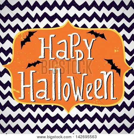 Cute halloween invitation or greeting card template with cartoon bats on hand drawn doodle chevron background. Hand written Happy Halloween lettering and frame for the text.