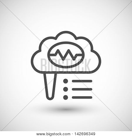 Brain activity line icon isolated on grey. Vector illustration