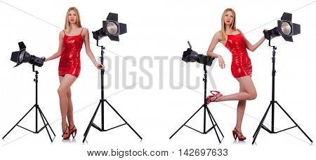 Young model during photoshoot in the studio