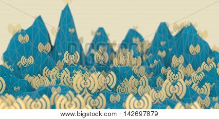 Low poly mountains landscape. 3d illustration. Polygonal mosaic background. Wi Fi Symbol icon