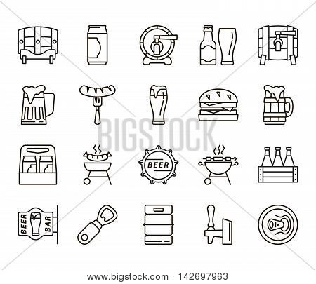 Beer bottle. Can of beer. Pint of beer. Pint of ale. Beer keg. Ale barrel. Beer simple. Beer icons. Beer flat. Beer linear. Beer snacks. Snacks icons. Snacks linear. Snacks flat.