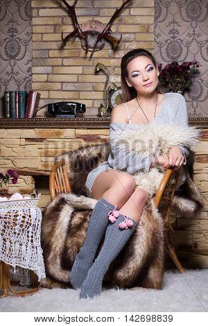 Attractive Brunette In Grey Stockings