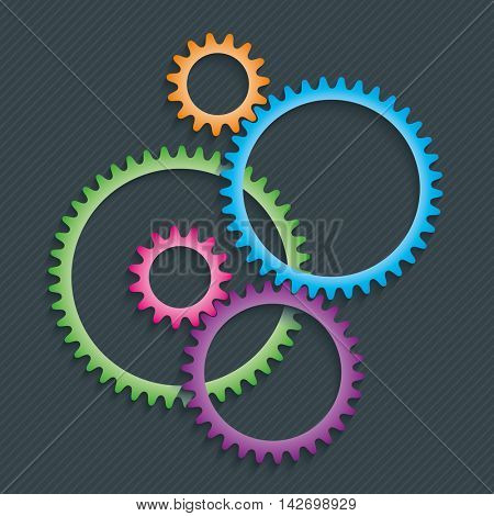 Connection Gears ( Cog wheels ) symbol on dark background. Teamwork or preference concept symbol. Vector EPS10.