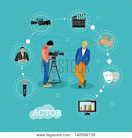 Movie shooting concept vector banners in flat style. Actor poses for camera man. Cinema design elements and icons.